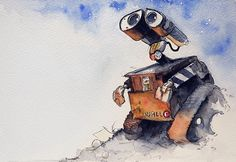 WALL-E watercolor https://www.facebook.com/CharacterDesignReferences