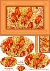 Peach Roses In Frame Card Front, Pyramage & Gift Tag