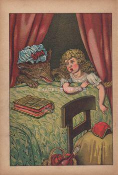 Lobo feroz en la cama-abuela-Grimm cuento CAPERUCITO ROJA campana-1880 antigua Color Vintage antiguo arte gótico impresión libro infantil-foto