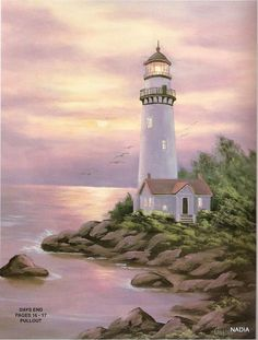 Lighthouse Painting, Lighthouse Pictures, Kinkade Paintings, Seascape Paintings, Pictures To Paint, Cool Pictures, Landscape Art, Landscape Paintings, Spring Painting