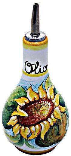 vinegar jar in sunflower ceramic blue   Ceramic Majolica Olive Oil Dispenser Sunflower White 16