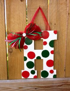 Items similar to Large Hand-Painted Polka Dots Initial Door Hanger Sign on Etsy Christmas Ornament Crafts, Christmas Signs, Diy Christmas Gifts, Christmas Projects, Christmas Themes, Holiday Crafts, Christmas Holidays, Christmas Wreaths, Christmas Decorations