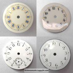 4 St. Emaille Zifferblätter für Taschenuhren, Zifferblatt, pocket Cooking Timer, Plates, Watches, Enamel, Licence Plates, Dishes, Griddles, Wristwatches, Dish
