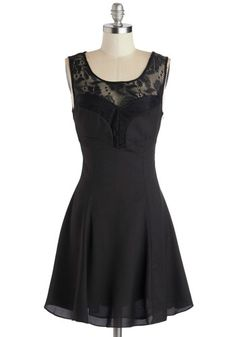 A Drink and Dancing Dress - Sheer, Woven, Short, Black, Solid, Lace, Party, A-line, Tank top (2 thick straps), Good, Scoop