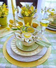 Dining Delight: Mother's Day Lemon Themed Tablescape Yellow Dinner Plates, Yellow Bowls, Battery Operated String Lights, Ladies Luncheon, Summer Decorating, Taper Candles, Yearly, Spring Green, The Dish