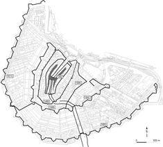 Development of the city of Amsterdam up until the 17e century, projected on modern topography