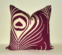 Pillow Cover - Decorative Pillow - Throw Pillow - Toss Pillow - Sofa Pillow - Thomas Paul - Plume - 17x17 in - Peacock Feather - Purple