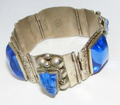 Vintage Mexico JPR Blue glass Face BRACELET costume jewelry