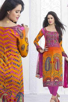 Yellow,Pink  & MultiColor Lawn Cotton UnStitched Straight Suit With Chiffon Dupatta
