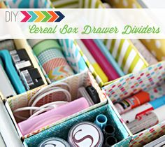 DIY Craft Room Ideas and Craft Room Organization Projects - Cereal Box Drawer Dividers - Cool Ideas for Do It Yourself Craft Storage - fabric, paper, pens, creative tools, crafts supplies and sewing notions Do It Yourself Organization, Dorm Organization, Organization Ideas, Organizing Drawers, Organizing Toys, Office Storage, Diy House Projects, Diy Projects To Try, Project Ideas