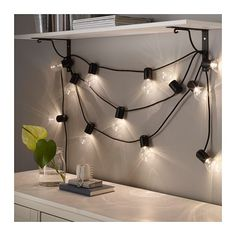 SVARTRÅ LED lyskæde med 12 pærer, sort, udendørs sort/udendørs -