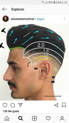 Popular Mens Hairstyles, Boy Hairstyles, Barber Haircuts, Haircuts For Men, Barber Tips, Types Of Fade Haircut, Haircut Tip, Hair And Beard Styles, Hair Styles