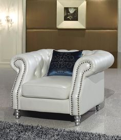 599.00$  Watch here - http://alih3g.worldwells.pw/go.php?t=32481707575 - A comfortable and leisurely living room chair real genuine leather sofa chair 1 seater postmodern with crystal buttons 599.00$