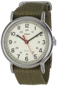 "Timex Unisex T2N651 ""Weekender"" Olive Nylon Strap Watch: Watches: Amazon.com"