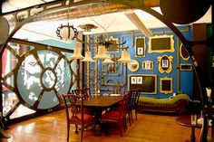 Nautilus-inspired space.  Love that they have a ladder up the wall and an escape hatch on the ceiling.