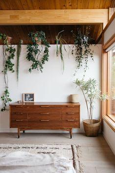 indoor houseplants on ledge in malibu bedroom. / sfgirlbybay