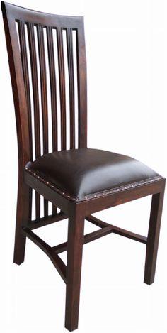 Schlank und elegant ist dieser Esszimmerstuhl aus Teakholz und Leder im modernistischen Kolonialstil. Dining Chairs, Shabby, Furniture, Elegant, Home Decor, Get Tan, Ad Home, Living Room