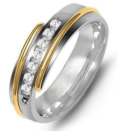 Best Diamond Wedding Ring Image Description two-tone gold, wide, comfort fit, diamond wedding band. The wedding band holds 7 round diamonds with total weight. Diamonds are graded as VS in clarity G-H in Mens Diamond Wedding Bands, Celtic Wedding Rings, Unique Wedding Bands, Wedding Ring For Him, Wedding Rings For Women, Rings For Men, Best Diamond, Vintage Engagement Rings, Round Diamonds