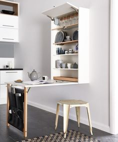 fold down table with hidden storage.