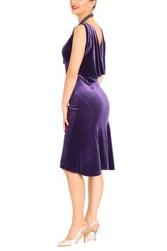 Purple velvet tango dress with draped back Tango Dress, Ballroom Dance Dresses, Purple Velvet, Fashion Sewing, Electric Blue, Dress Up, Dresses For Work, Argentine Tango, Skirt