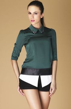 Green Half Sleeve Rhinestone Back Zipper Blouse.      ,Size Available : S,M,L,XL     ,Color : Green     ,Style : Fashion     ,Material : Silk      ,Shoulder(cm) : S:34cm, M:35cm, L:36cm, XL:37     ,Bust(cm) : S:88cm, M:92cm, L:96cm, XL:100cm     ,Length(cm) : S:70cm, M:71cm, L:72cm, XL:73cm     ,Sleeve Length(cm) : S:38cm, M:39cm, L:40cm, XL:41cm. is great quality and awesome price , cant wait to visit this site