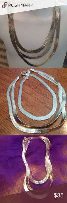 "Silver Herringbone Necklace 3 Strands 18"" open  Herringbone Necklace Jewelry Necklaces"