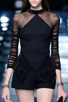 Sheer sleeves.  Balenciaga Primavera Paris 2015