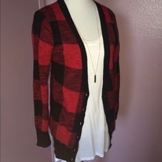 Red Plaid Cardigan Like new. Didn't get the chance to wear it. Great for daily wear! This listing is for the cardigan only. Necklace and shirt not included. Thanks! Mossimo Supply Co. Sweaters Cardigans