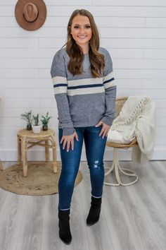 Striped Color Block Gray Sweater - UOIOnline.com
