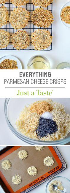 Everything Parmesan Cheese Crisps #recipe via justataste.com