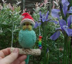"Budgerigar  Knitted life size Budgie Parakeet  "" Connie  ""  Christmas Hat   OOAK"