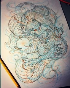Sketch Drawing sketching and drawing Dragon Tattoo Sketch, Dragon Sleeve Tattoos, Dragon Tattoo Designs, Tattoo Sketches, Tattoo Drawings, Drawing Sketches, Body Art Tattoos, Drawing Step, Arabic Tattoos