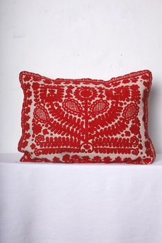 Cushion with handmade embroidery from kalotaszeg > > > International Wardrobe. Almstadtstrasse 50, 10119 Berlin.