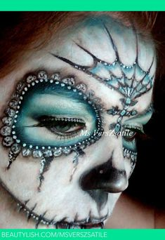 Blue Sugar Skull Makeup | Fancy Blue and White Sugar Skull 3 Ms VersZsatile