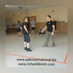 SAFE International Self Defense seminar with Richard Dimitri & Chris Roberts teaching a knife defense drill where goal is to intercept the knife ASAP if it's introduced.  More important than your quickness is the ability to identify the pre-contact cues of violence. Knife is hidden somewhere on body and scenario created. www SAFEInternational.biz www.richarddimitri.com #knifedefense #safeinternational #selfdefenss Chris Roberts, Self Defense Moves, Martial Arts Workout, Jiu Jitsu, Drill, Weapons, Goal, Survival, Train