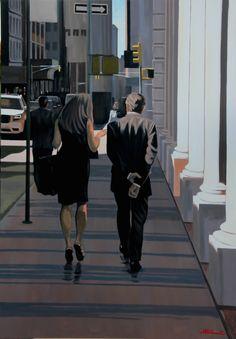 Lunch Time - Nicolas Odinet #lunch #walk #walking #balade #street #Odinet #peinture #oilpainting #art #Hopper #Light #fineart #artcontemporain #art #marciano #gallery #galerie #Paris #rivoli #galeriemarciano Couple Painting, Painting People, Couple Art, Figure Painting, Art Moderne, Art For Art Sake, City Art, Pictures To Paint, Figurative Art