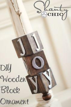 DIY Wooden Block Ornament at www.shanty-2-chic.com#12daysofChristmas
