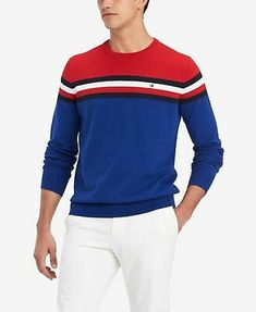 Tommy Hilfiger Men's Chris Colorblocked Sweater, Created For Macy's In Apple Red / Mazarine Blue Mens Striped Sweater, Cotton Sweater, Men Sweater, Sueter Tommy Hilfiger, Tommy Hilfiger Top, Dresses With Leggings, Sweater Outfits, Trendy Plus Size, Sweaters