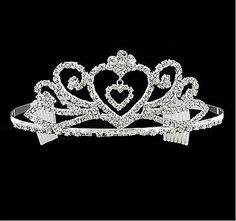 APPEALING RHINESTONE HEART TIARA - WITH TREMBLING HEART AT CENTRE