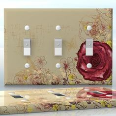 DIY Do It Yourself Home Decor - Easy to apply wall plate wraps | Velvet Rose  Red rose on vintage background  wallplate skin sticker for 3 Gang Toggle LightSwitch | On SALE now only $5.95