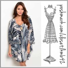 Indigo Abstract Print Mini Dress Stunning indigo, grey & white abstract print dress. Featuring dolman sleeve cut, V neckline and fully lined. Made of high quality poly blend. Medium drapes and flows nicely. Sizes S, M, L. These run big they can also fit an XL long sleeve Threads & Trends Dresses