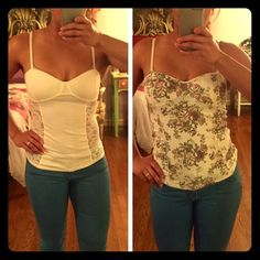 TALULA Tank Bundle (2) White tank with floral design & plain white tank. Bought it from Aritzia. Talula Tops Tank Tops