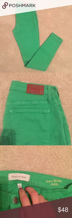 Henry and Belle Denim Henry and Belle size 28 kelly green denim. Gently worn, like new condition. Super skinny ankle Henry and Belle Jeans Skinny