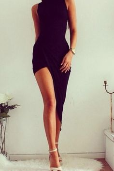 Black Sleeveless High Low Bodycon Dress