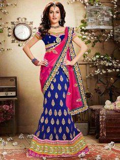 Blue Silk Lehenga Choli With Sequins And Zari Work www.saree.com