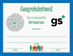 Girl Scout Law Certificate