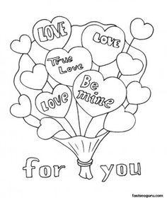 Printable Valentine Bouquet coloring page - Printable Coloring Pages For Kids