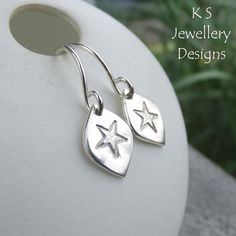 Stamped Star Drops Sterling Silver Earrings - Metalwork Textured Jewellery £24.00