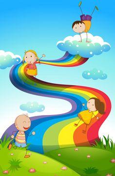 Niños felices en arco iris Vector Gratis