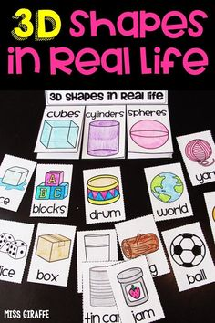 3d shapes activity to create this cute little book to sort real life objects under what shape they are. Perfect for kindergarten or first grade or even 2nd!